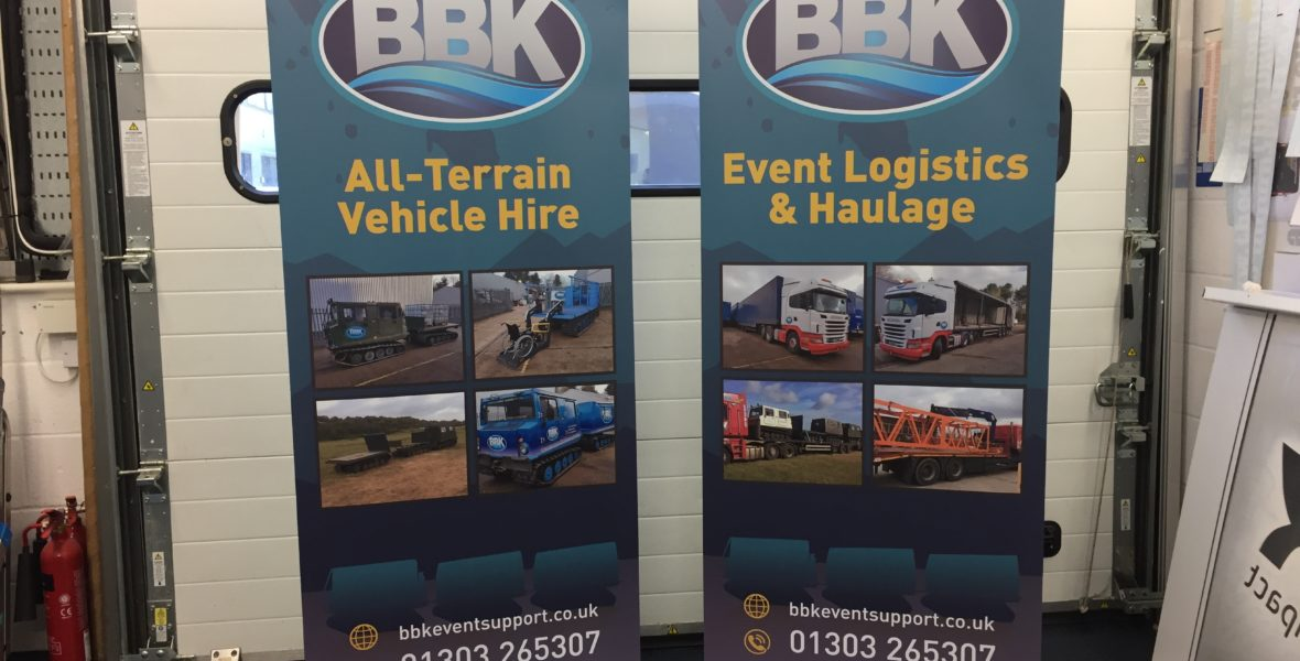 BBK Construction Free Standing Banners