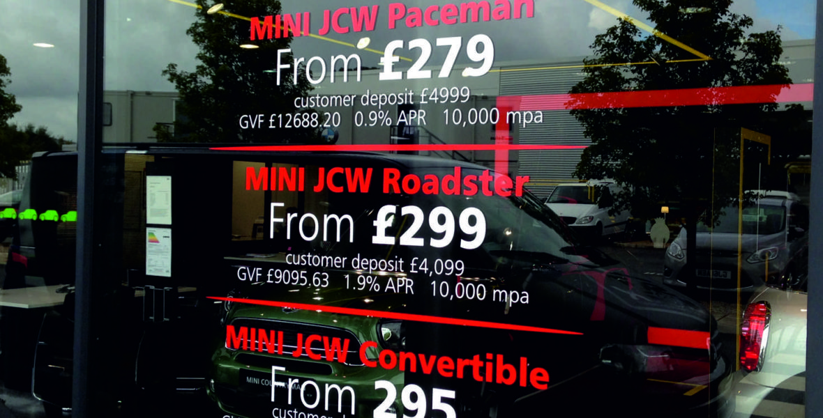 BMW Mini Window Signs